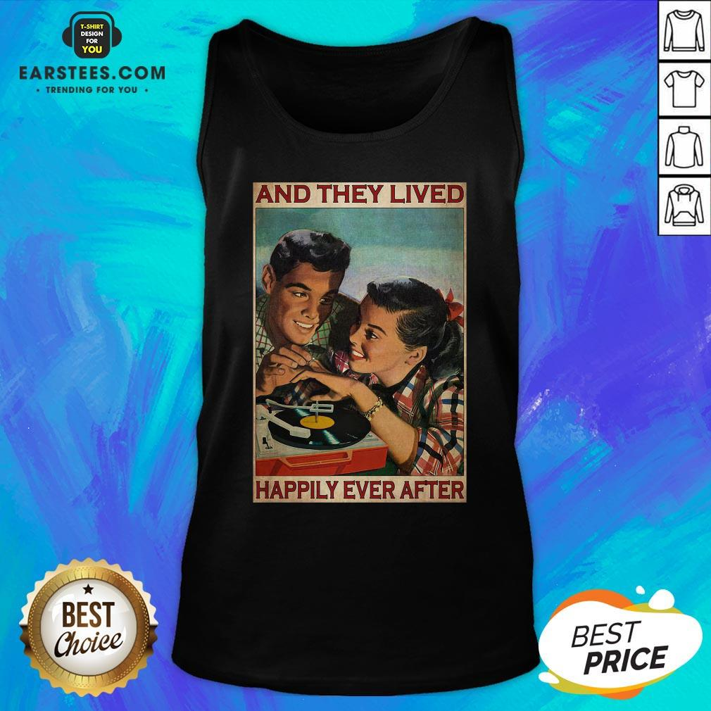 Perfect Couple Record Player And They Lived Happily Ever After Music Tank Top - Design By Earstees.com