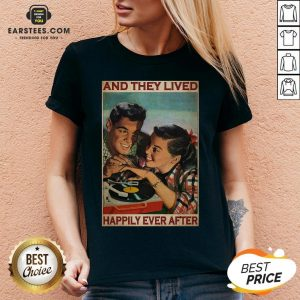 Perfect Couple Record Player And They Lived Happily Ever After Music V-neck - Design By Earstees.com