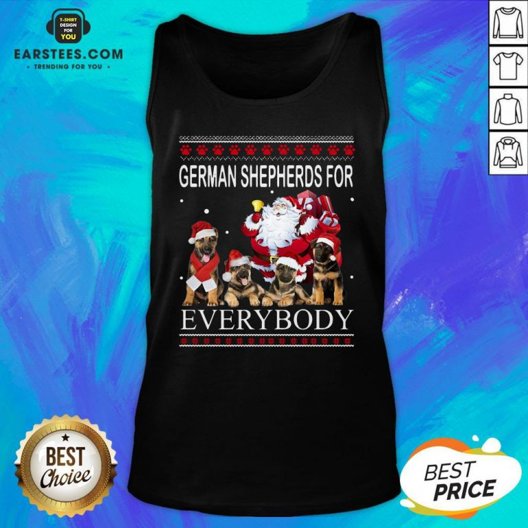 Pretty German Shepherds For Everybody Santa Claus Ugly Christmas Tank Top - Design By Earstees.com