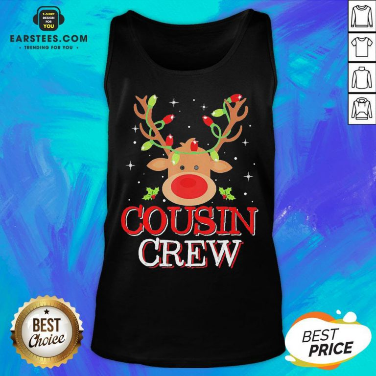 Pretty Reindeer Light Cousin Crew Christmas Tank Top - Design By Earstees.com
