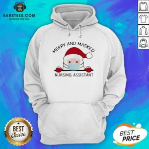 Pretty Santa Face Mask Merry And Masked Nursing Assistant Christmas Hoodie - Design By Earstees.com