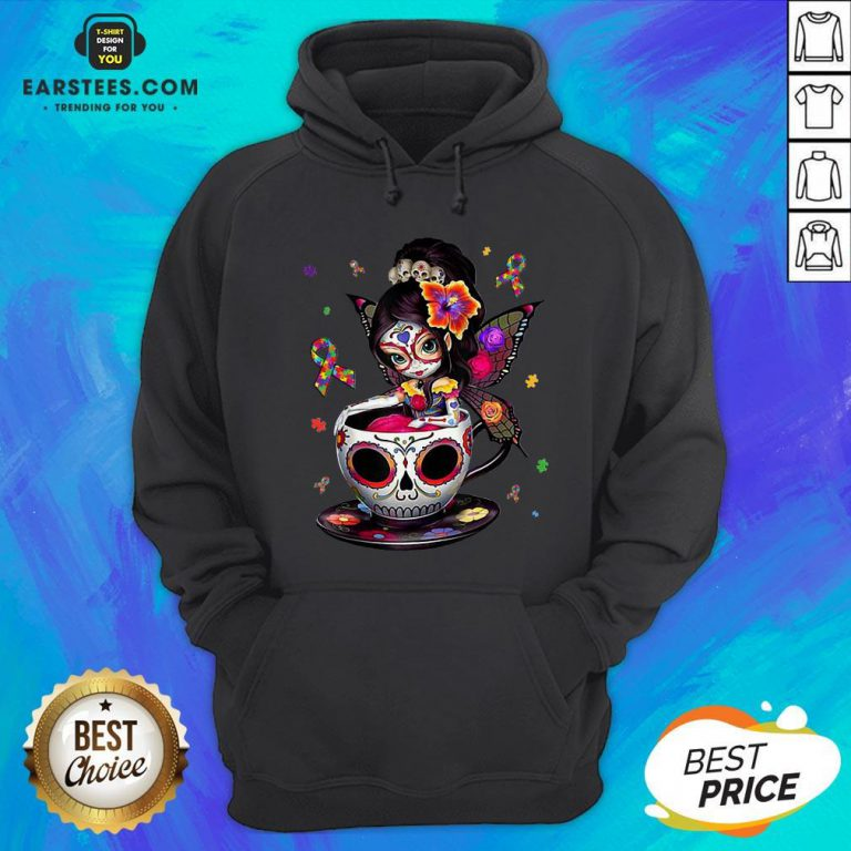 Pretty Sugar Skull Fairy Figurine It's OK To Be Different Autism Awareness Hoodie - Design By Earstees.com