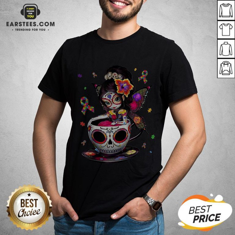 Pretty Sugar Skull Fairy Figurine It's OK To Be Different Autism Awareness Shirt - Design By Earstees.com