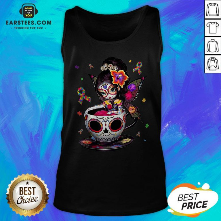 Pretty Sugar Skull Fairy Figurine It's OK To Be Different Autism Awareness Tank Top - Design By Earstees.com