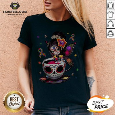 Pretty Sugar Skull Fairy Figurine It's OK To Be Different Autism Awareness V-neck - Design By Earstees.com