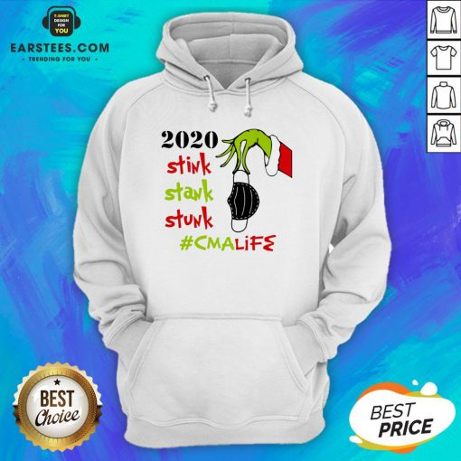 Pretty The Grinch Hand Holding Mask 2020 Stink Stank Stunk #Lpnlife Christmas Hoodie - Design By Earstees.com