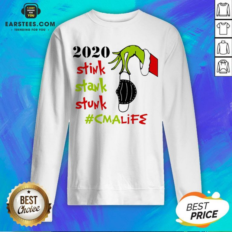 Pretty The Grinch Hand Holding Mask 2020 Stink Stank Stunk #Lpnlife Christmas Sweatshirt - Design By Earstees.com