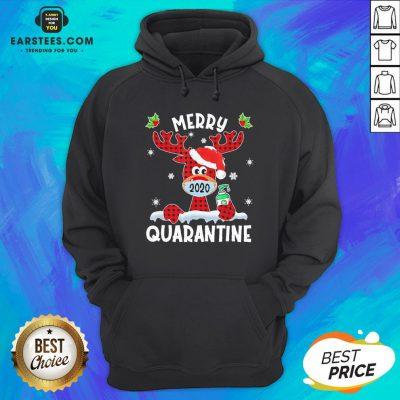 Top Reindeer Santa Face Mask Merry Quarantine Christmas 2020 Light Hoodie - Design By Earstees.com