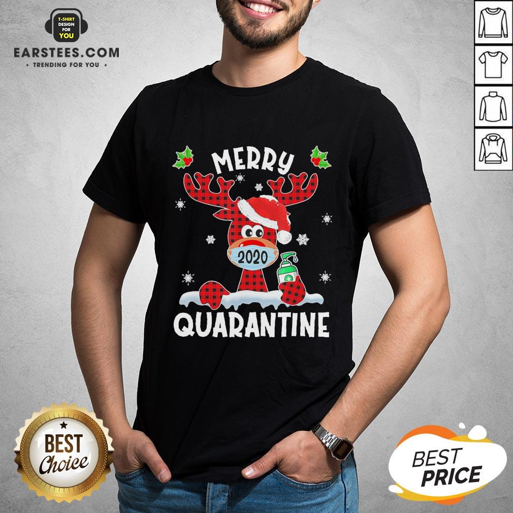 Top Reindeer Santa Face Mask Merry Quarantine Christmas 2020 Light Shirt - Design By Earstees.com