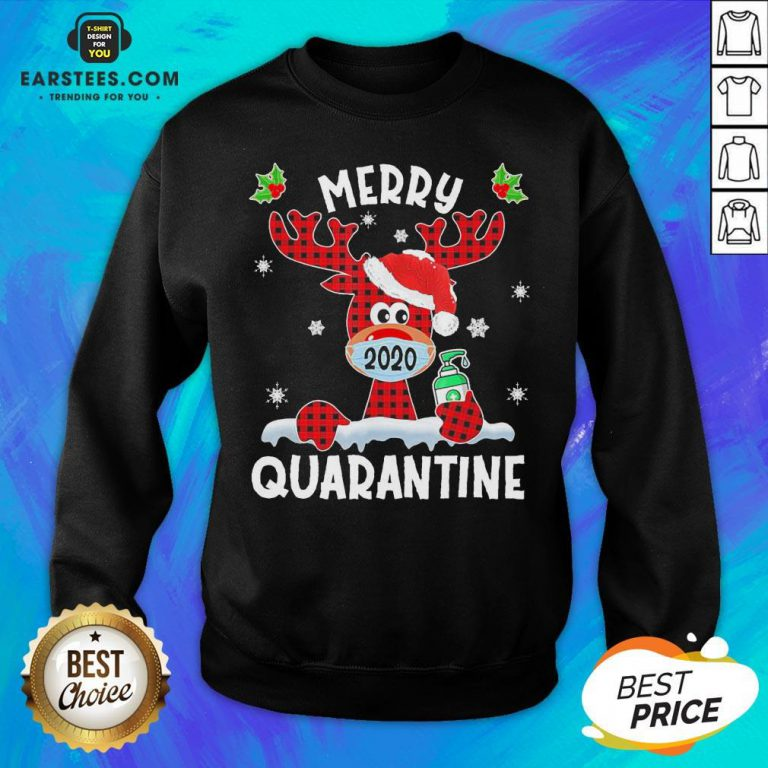 Top Reindeer Santa Face Mask Merry Quarantine Christmas 2020 Light Sweatshirt - Design By Earstees.com