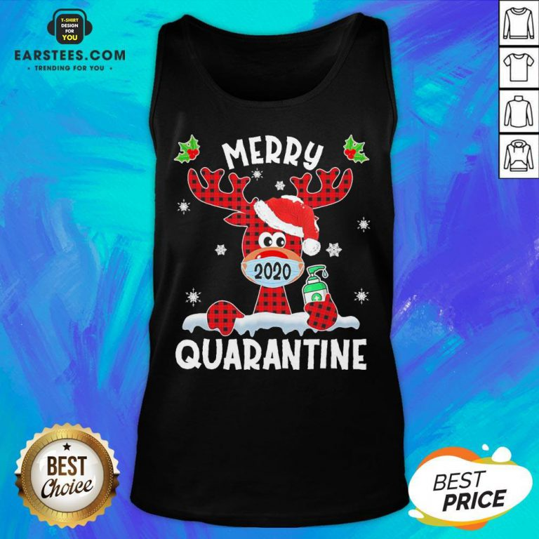 Top Reindeer Santa Face Mask Merry Quarantine Christmas 2020 Light Tank Top - Design By Earstees.com