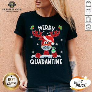 Top Reindeer Santa Face Mask Merry Quarantine Christmas 2020 Light V-neck - Design By Earstees.com
