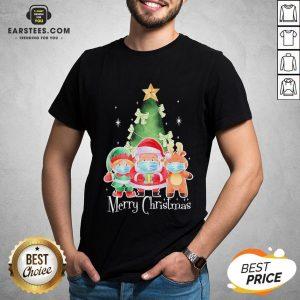 Top Santa Elf Reindeer Wearing Mask Quarantine Christmas 2020 Shirt - Design By Earstees.com