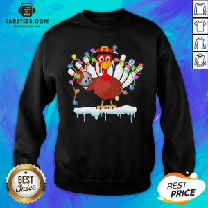 Top Turkey Playing Bolling Happy Light Christmas Sweatshirt- Design By Eerstees.com