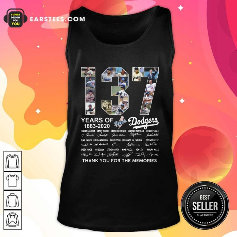 137 Years Of Los Angeles Dodgers 1883 2020 Thank You For The Memories Signatures Tank Top - Design By Earstees.com