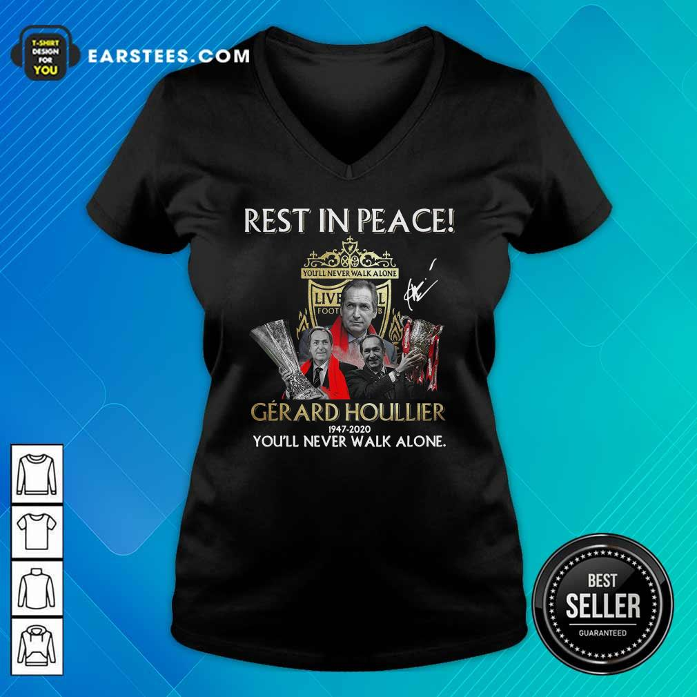 Liverpool Rest In Peace Gerard Houllier 1947 2020 You'll Never Walk Alone Signature V-neck - Design By Earstees.com
