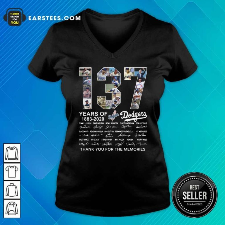 137 Years Of Los Angeles Dodgers 1883 2020 Thank You For The Memories Signatures V-neck - Design By Earstees.com