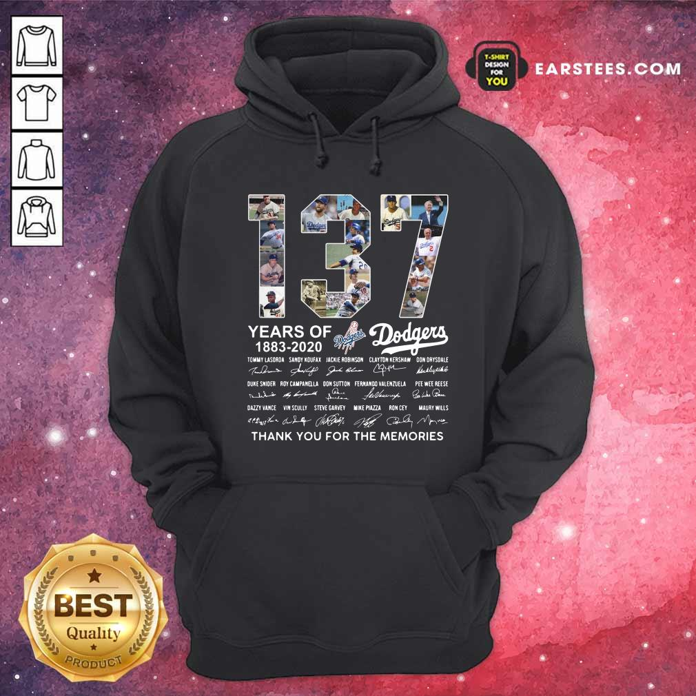 137 Years Of Los Angeles Dodgers 1883 2020 Thank You For The Memories Signatures Hoodie - Design By Earstees.com