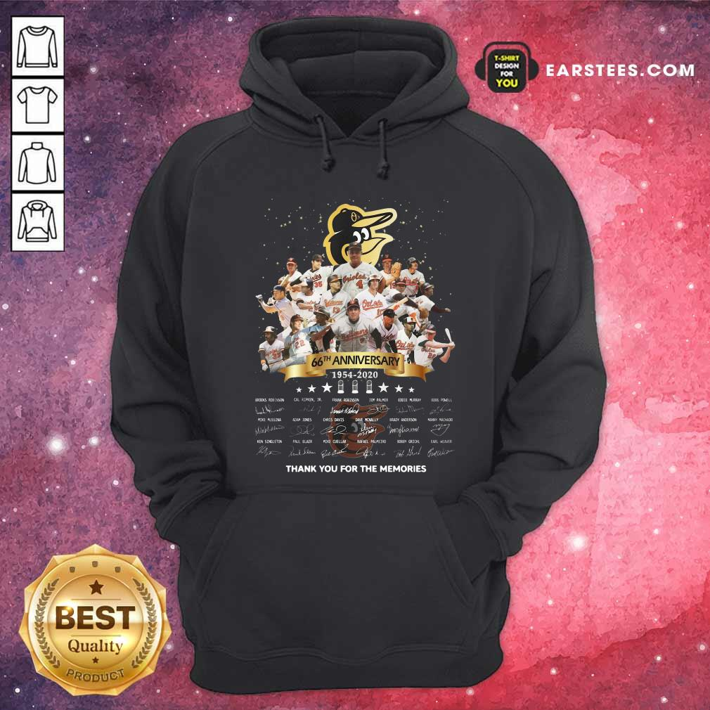 Baltimore Orioles 66th Anniversary 1954 2020 Thank You For The Memories Signatures Hoodie - Design By Earstees.com