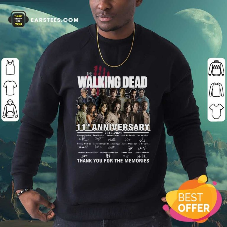 The Walking Dead 11th Anniversary 2010 2021 Thank You For The Memories Signatures Sweatshirt - Design By Earstees.com