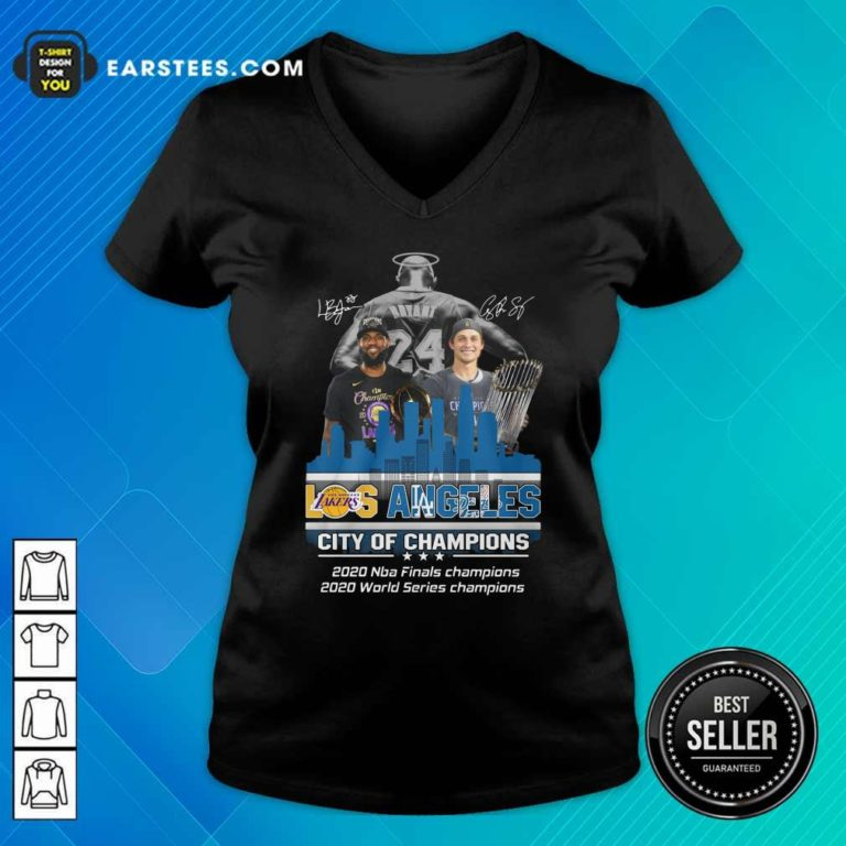 Kobe Bryant LeBron James And Corey Seager Los Angeles Lakers Dodgers City Of Champions 2020 Signatures V-neck - Design By Earstees.com