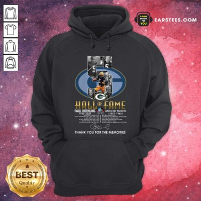Green Bay Packers 5 Paul Hornung 1935 2020 Hall Of Fame Thank You For The Memories Signature Hoodie - Design By Earstees.com