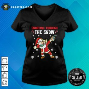 Snorting Through The Snow Dabbing Santa Claus Face Mask Toilet Paper Hand Sanitizer Christmas V-neck - Design By Earstees.com