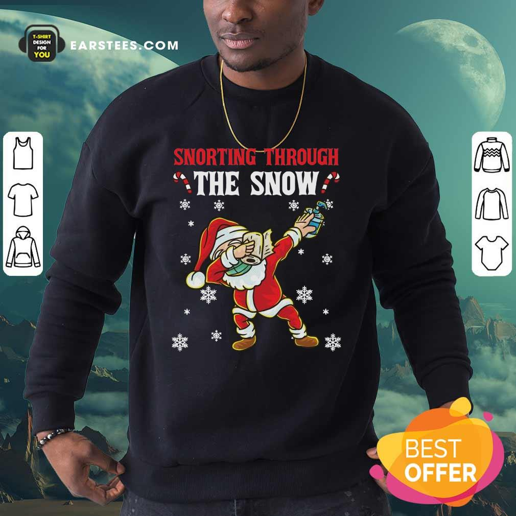 Snorting Through The Snow Dabbing Santa Claus Face Mask Toilet Paper Hand Sanitizer Christmas Sweatshirt - Design By Earstees.com