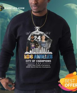 Kobe Bryant LeBron James And Corey Seager Los Angeles Lakers Dodgers City Of Champions 2020 Signatures Sweatshirt - Design By Earstees.com
