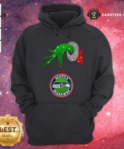 Grinch Hand Holding Seattle Seahawks Christmas Hoodie - Design By Earstees.com