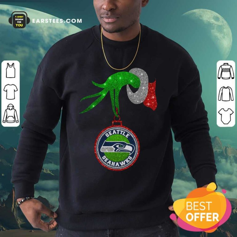 Grinch Hand Holding Seattle Seahawks Christmas Sweatshirt - Design By Earstees.com
