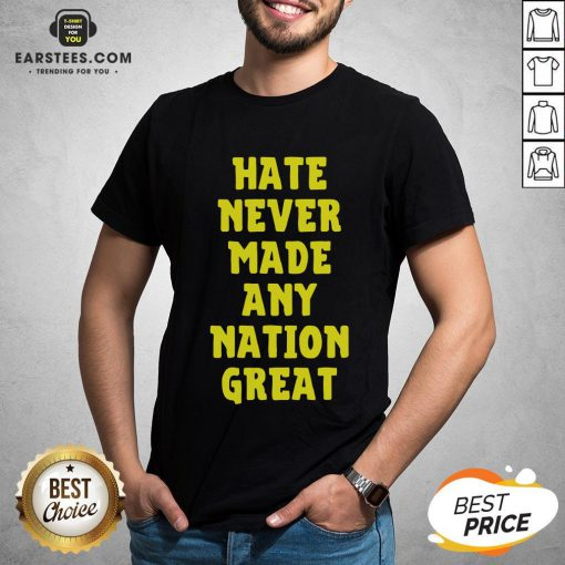 Awesome Hate Never Made Any Nation Great Shirt- Design By Earstees.com