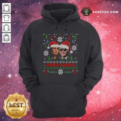 Joe Biden And Kamala Harris Wear Hat Santa Claus Merry Xmas Hoodie - Design By Earstees.com