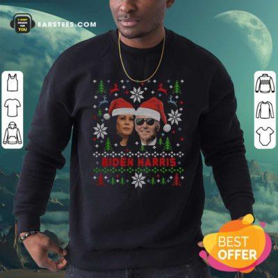 Joe Biden And Kamala Harris Wear Hat Santa Claus Merry Xmas Sweatshirt - Design By Earstees.com