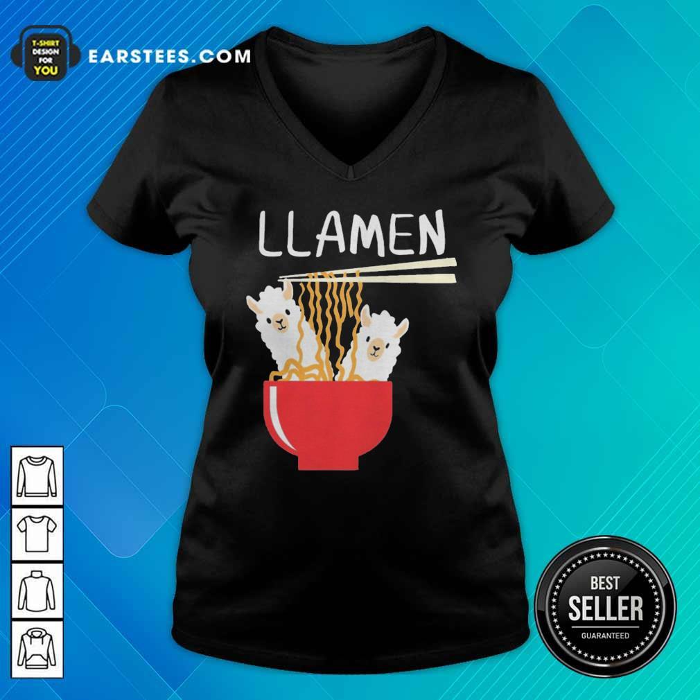 Llama Eat Llamen V-neck - Design By Earstees.com