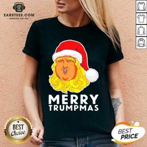 Awesome Merry Trumpmas Christmas V-neck - Design By Earstees.com