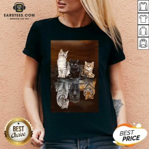 Awesome Three Cat Tiger Reflections 5d Diamond Diy V-neck - Design By Earstees.com