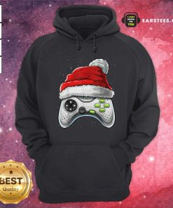 Video Game Controller Santa Hat Christmas Hoodie - Design By Earstees.com