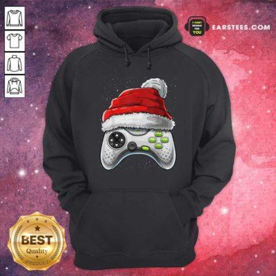 Video Game Controller Santa Hat Christmas Hoodie - Design By Earstees.com