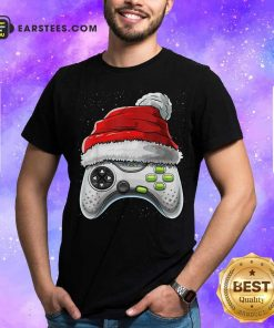 Video Game Controller Santa Hat Christmas Shirt - Design By Earstees.com