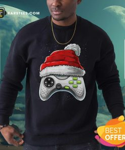 Video Game Controller Santa Hat Christmas Sweatshirt - Design By Earstees.com