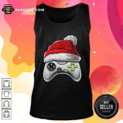 Video Game Controller Santa Hat Christmas Tank Top - Design By Earstees.com