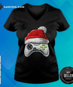 Video Game Controller Santa Hat Christmas V-neck - Design By Earstees.com