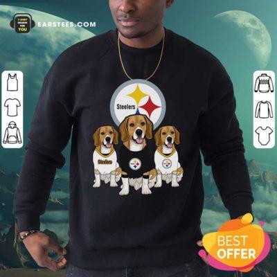 Beagle Pittsburgh Steelers Logo Sweatshirt- Design By Earstees.com