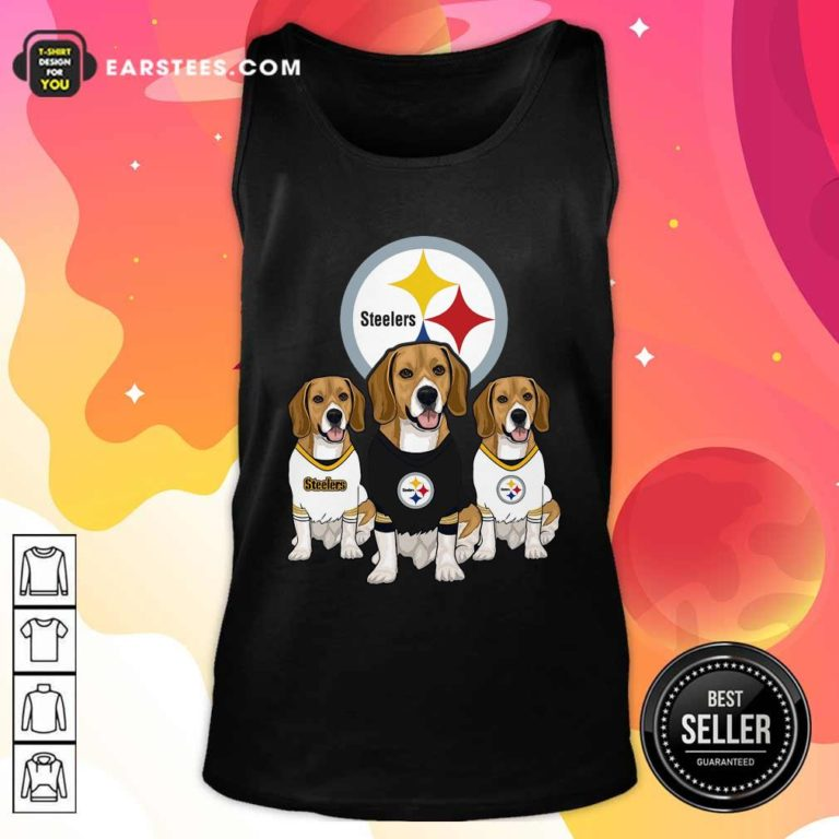 Beagle Pittsburgh Steelers Logo Tank Top - Design By Earstees.com