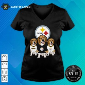 Beagle Pittsburgh Steelers Logo V-neck - Design By Earstees.com