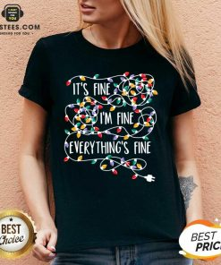 Funny Im Fine Im Fine Everythings Fine V-neck - Design By Earstees.com