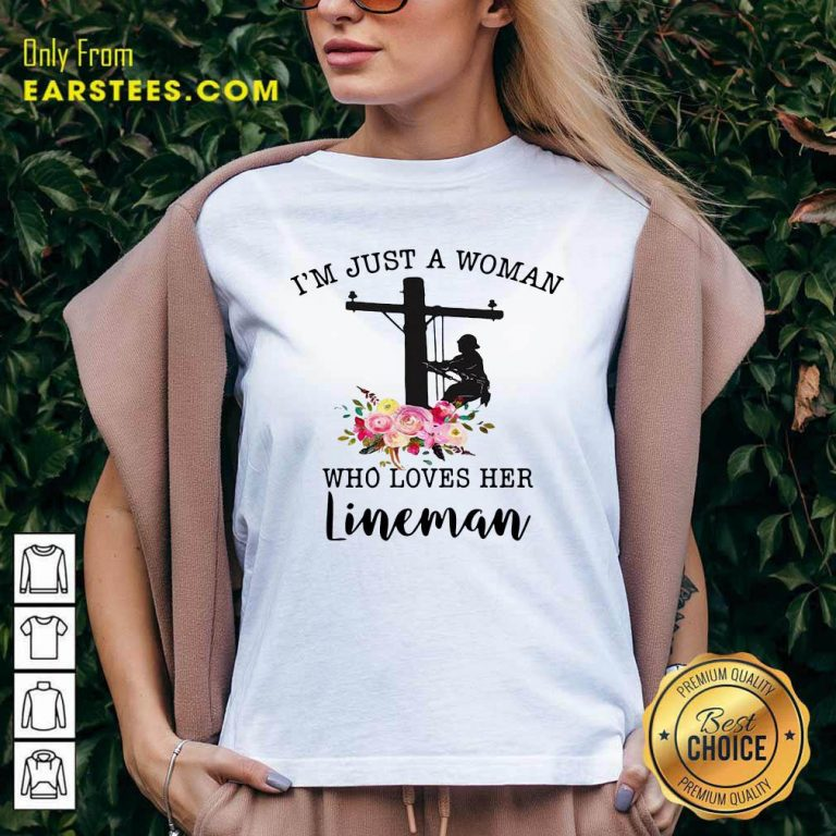 Im Just A Woman Who Loves Her Lineman V-neck - Design By Earstees.com