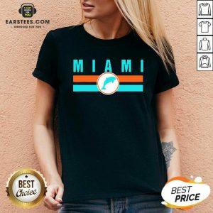 MIA Miami Local Standard MIA Retro Dolphin Miami FL V-neck - Design By Earstees.com