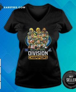Bay Packers 2020 Nfc North Playoffs Division Champions Signatures V-neck - Design By Earstees.com
